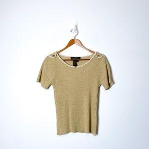 Vintage 1990s Silk Gold Knit Short Sleeve Y2K T Shirt